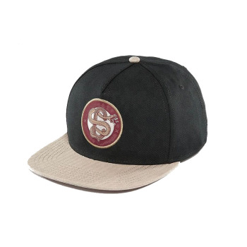 8b3f3c4165a Guangjia embroidery woven patch hats made in china 5 panel wool flat brim snapback  cap