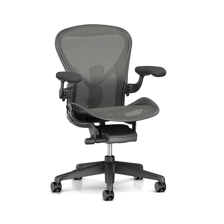 Herman Miller Aeron Task Chair: Standard Tilt - PostureFit SL - Fully Adj Arms - Dark Carbon Vinyl Armpad - Carpet Caster