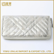 Wholesale Elegant Ladies Shiny Silver PU Quilted Wallet