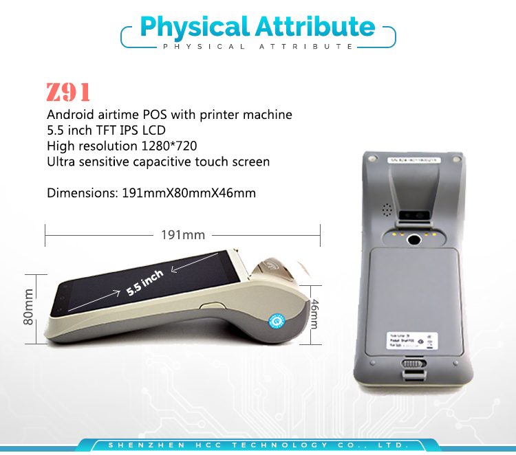 Smart Mobile 4G WiFi Wireless Handheld NFC Android POS Terminal HCC-Z91