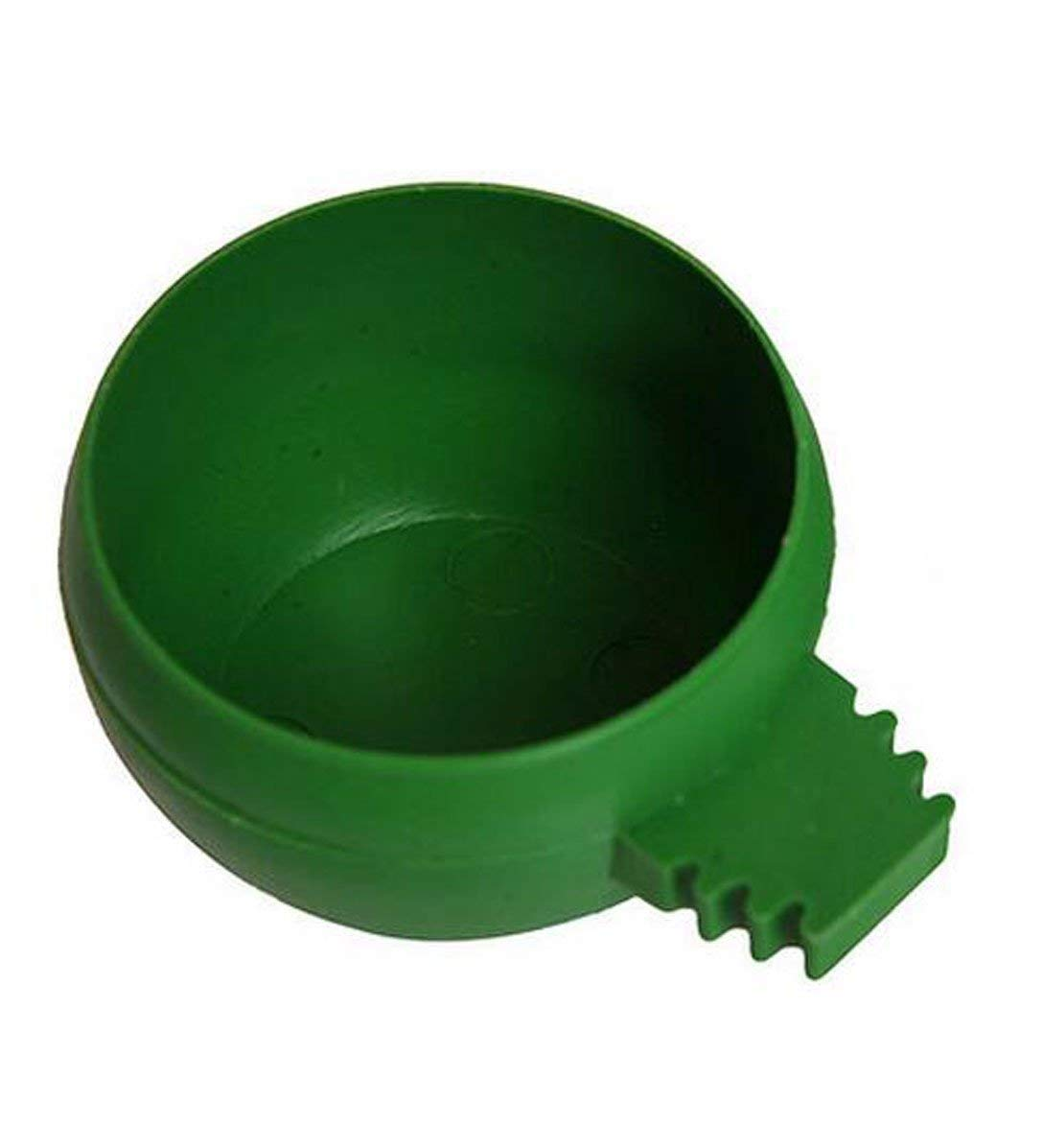 OUUD Plastic Bird Parrot Pigeons Food Water Feeder Bowl -2.1 Inches,Green