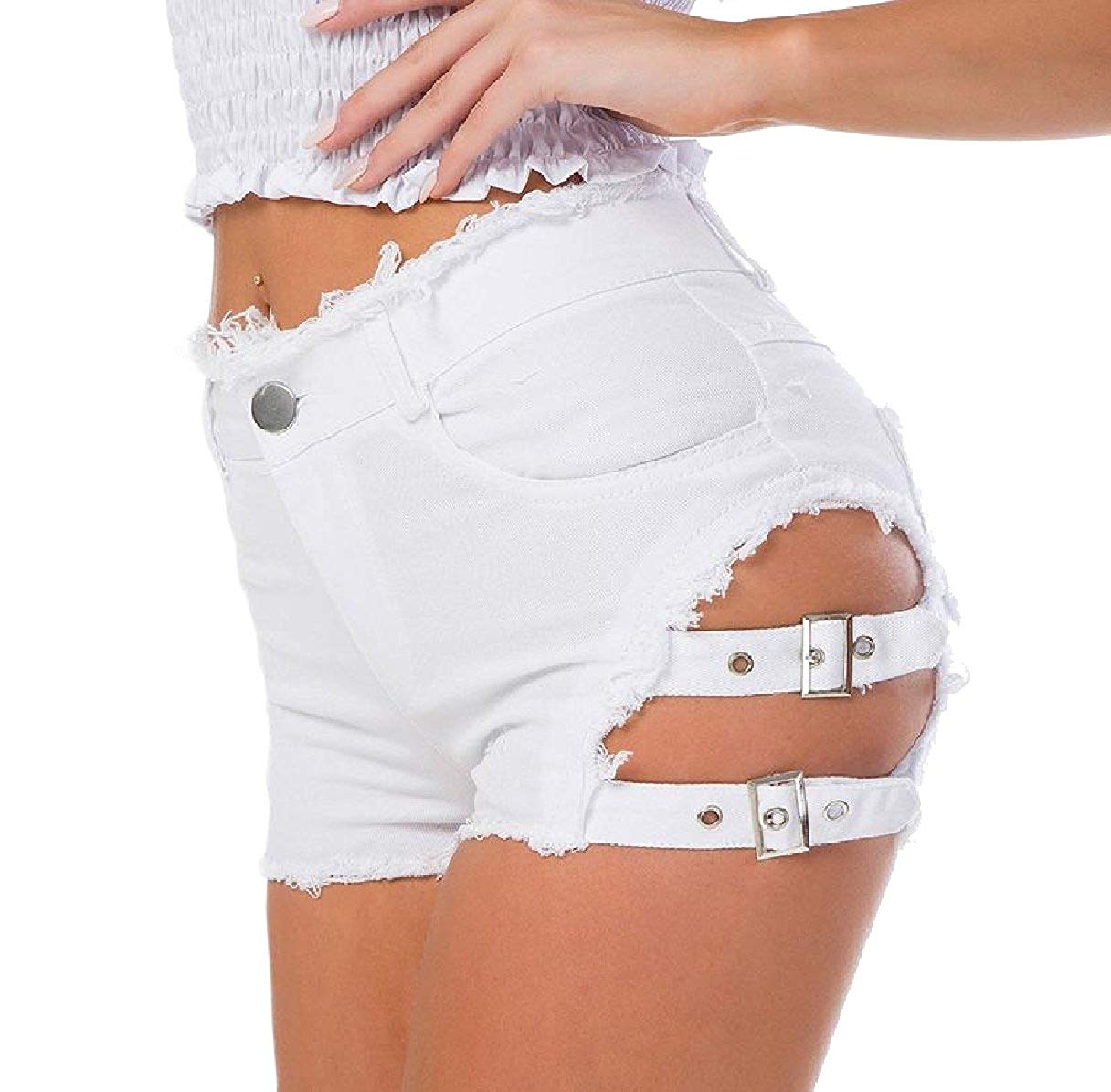 5dc5f7bbb3878 Get Quotations · Tootless-Women Sexy Over Waist Slim Fit Midi Shorts Ripped  Hole Hiphop Jeans