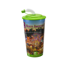 900ml promotion PP 3D drinking cup with lid and straw