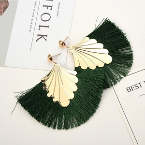 Europe and America exaggerated personality fan-shaped shell silk thread tassel earrings national wind female accessories