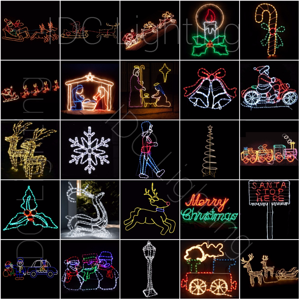 2d Christmas Outdoor Window Silhouette Rope Light