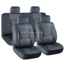 11-Piece Classic Black Luxury Universal Fit Interior Decor PVC Leather Car Seat Cover