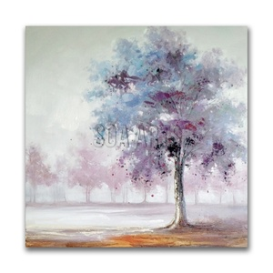 Colorful Trees Handmade Abstract Canvas Oil Painting for Home Decoration