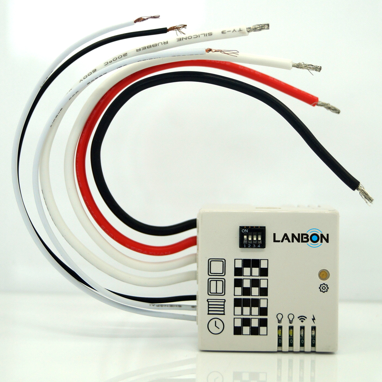 Lanbon small wifi module 2 gang smart home switch unique design app and amazon echo control