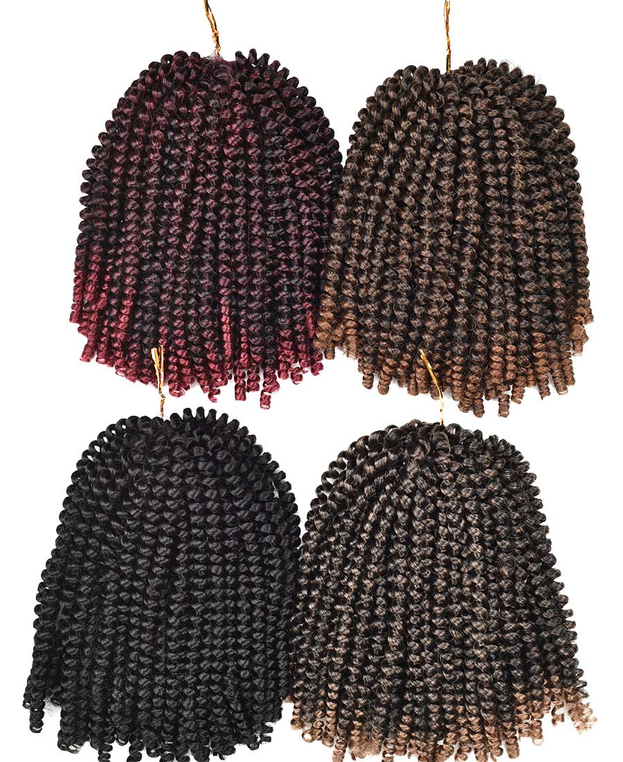 "Alileader New Product Crochet Hair 8"" Ombre Color Spring Twist Crochet Braid Hair For Women"