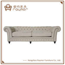 French script upholstery copper nail button tufted wooden sofa furniture