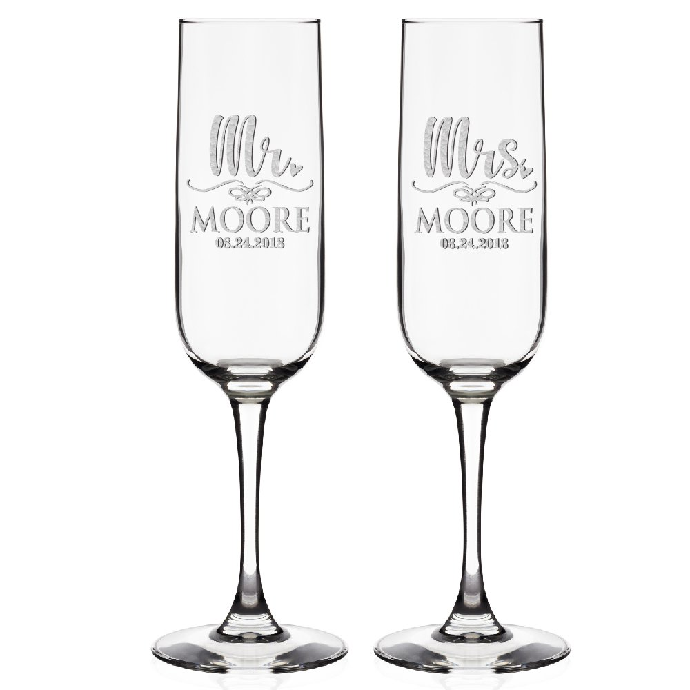 Buy Set Of 2 Personalized Champagne Flutes Wedding Glasses For Bride