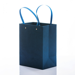 Manufacturer Wholesale Thick Paper Shopping Bag With Luxury Flat Paper Handle And Rivet Metal Button