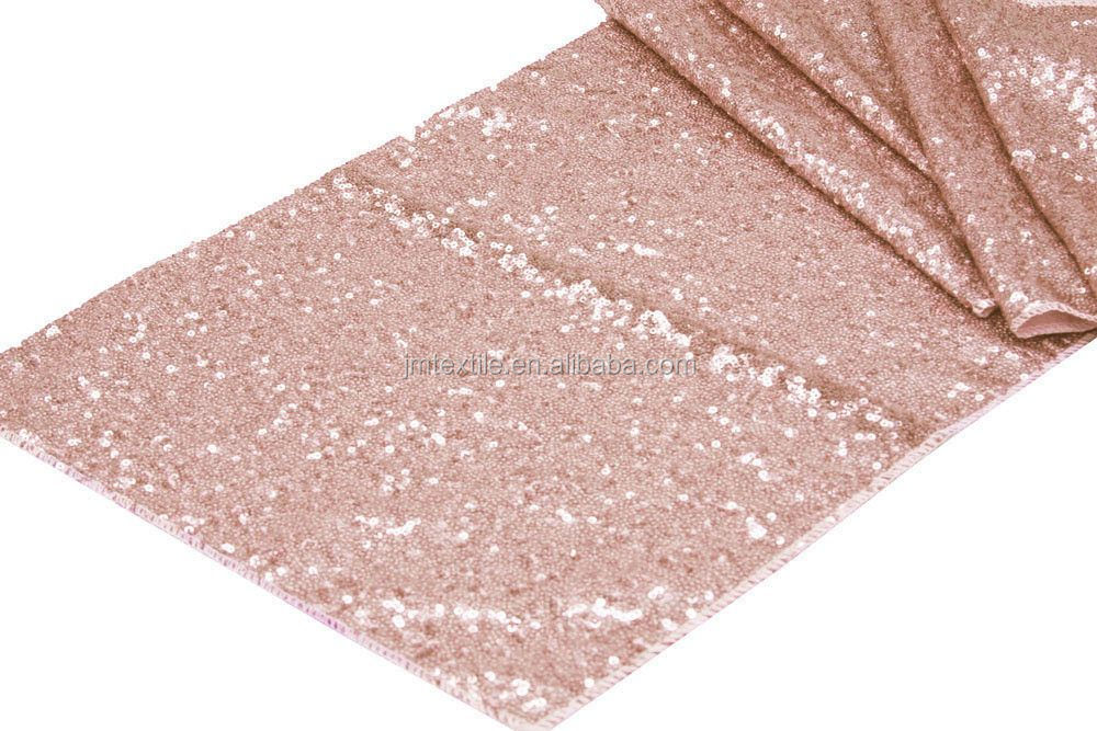Wholesale rose gold sequin table runner with glitter beads and sequins