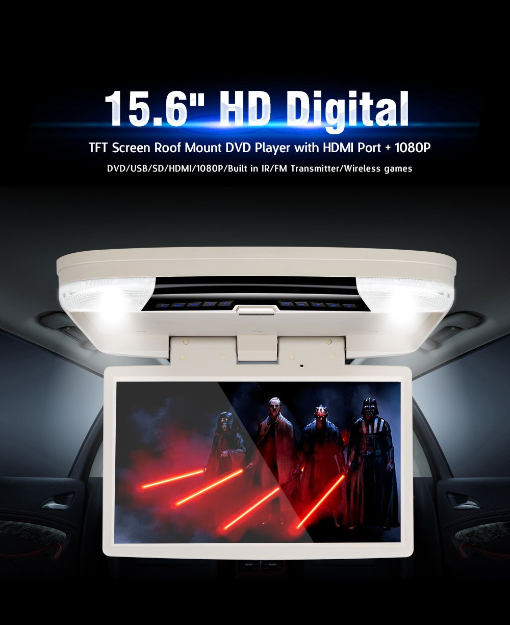 Flip down 2 AV-IN + IR/FM 15.6 inch remote control car dvd player 1080p