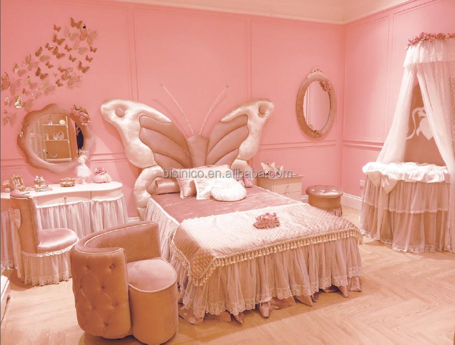 Meisje slaapkamer meubilair vlinder stijl kinderen bed vlinder