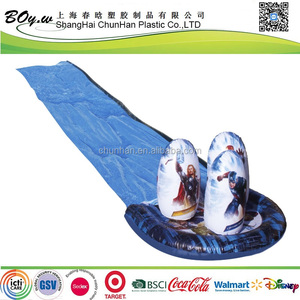 ICTI manufacturer EN71 OEM testing racing games play kids toys inflatable boys pvc single water slide with tumblers