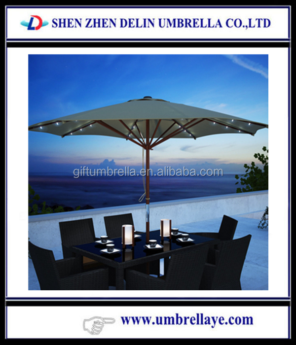 Patio Umbrella with LED Lights,wooden patio umbrella with solar power