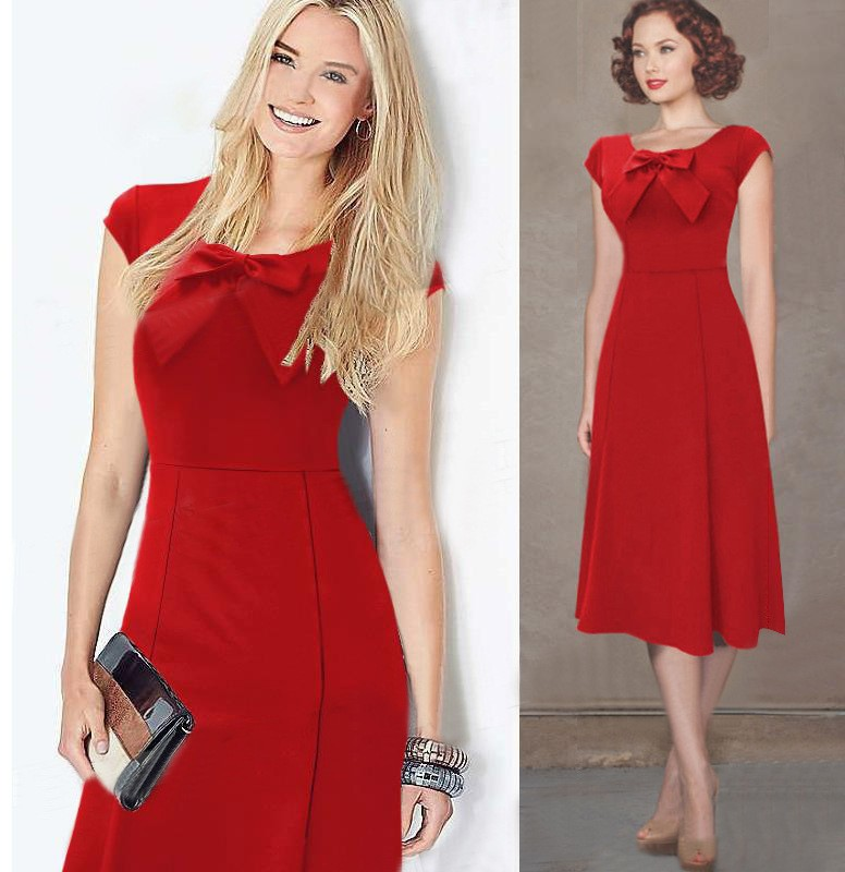 Wholesale women short sleeve formal evening lovely girl's dress with bow decoration
