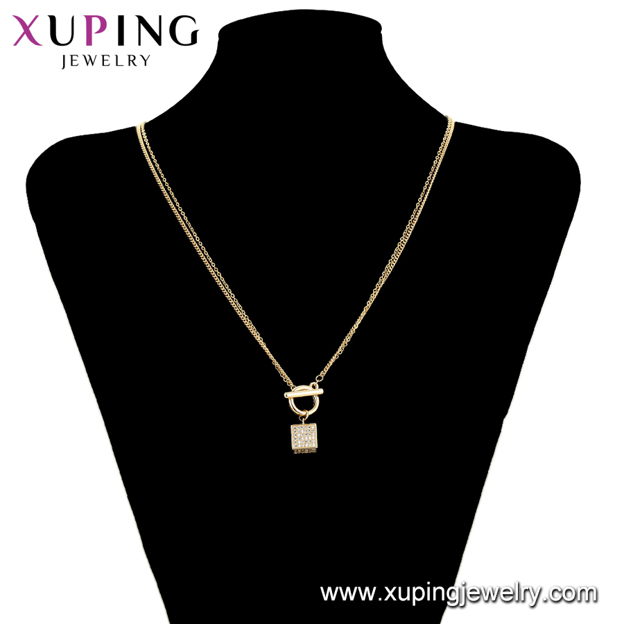 necklace-00685 fashion style gold plated square new model charm pendant necklace