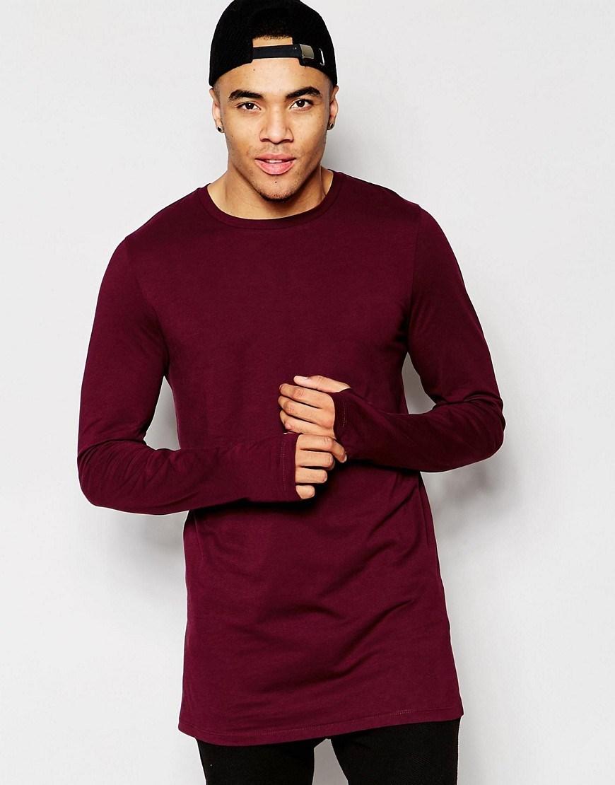Men 2016 Cotton Fashion T Shirts Plain Longline Thin Long Sleeve T ...