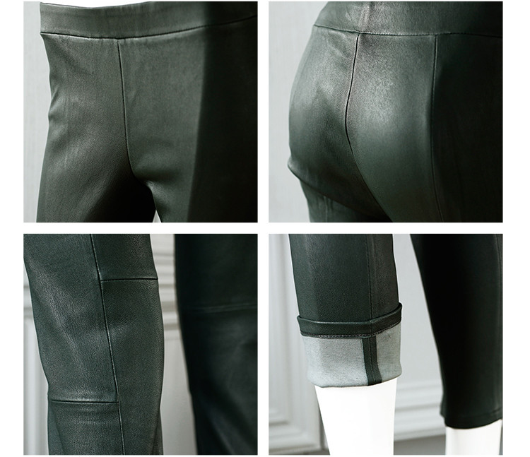 Womens Black Stretchable Lambskin Leather Leggings