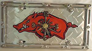 "1 , Quartz Clock, on a, ""ARKANSAS RAZORBACKS"", Metal Sign, in a, Metal, Slotted Rim, Frame,,6A3.3&6A2.8"