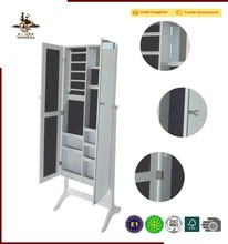 Large space double side floor standing mirrored jewelry cabinet