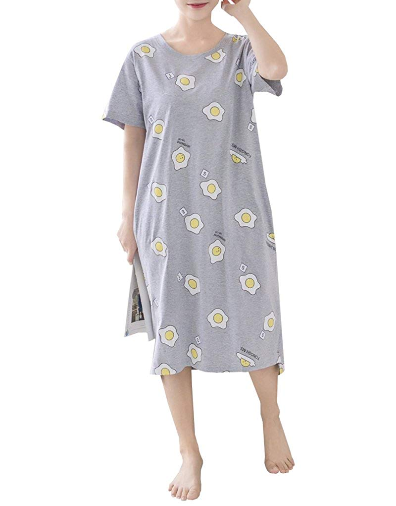 Get Quotations · MyFav Teen Girls Lovely Eggs Print Pajamas Plus Size  Nightgowns with Pockets ce850cdbe