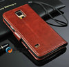 Free Shipping !Factory Directly Wholesale Luxury Retro Book Leather Case Stand +Card Holder +Chain for Samsung Galaxy s5 i9600