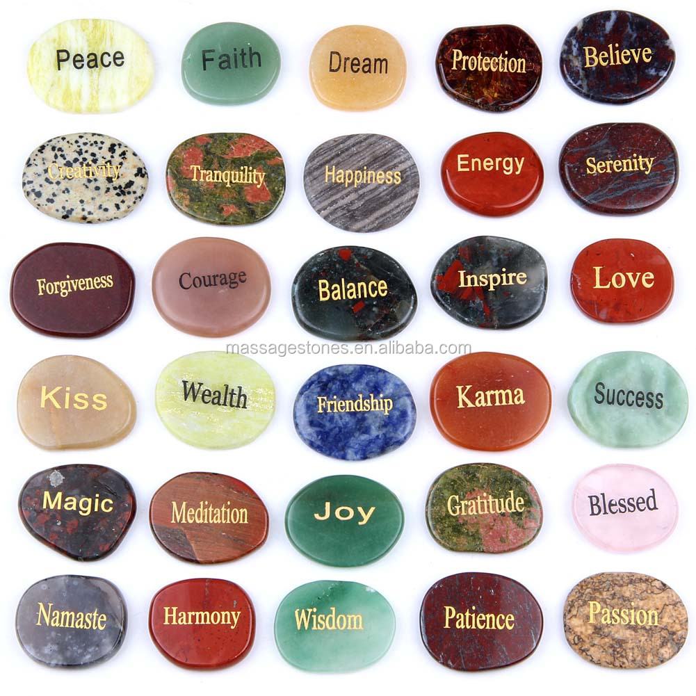 Natural Wish Stones Flat Polished Stones With Engraving