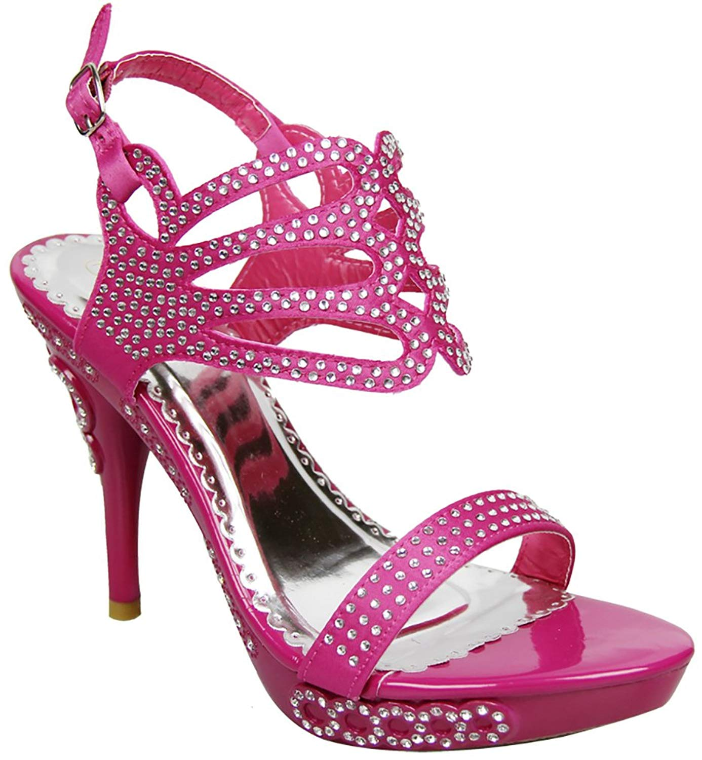 d5023952f92 Get Quotations · Fourever Funky Jeweled Open Toe Strappy Rhinestone Platform  High Heel Sandal Shoes