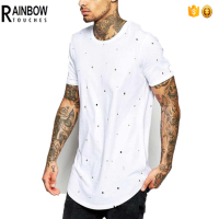 Custom Blank Distressed Longline Tshirt In White for Men