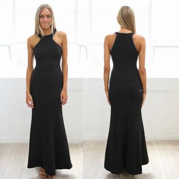 2015 Dress Design Bodycon Long Dress Sexy Black Beaded Maxi Long