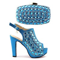 Nigeria party women italian shoes and bag set African designer high heel shoes and bags