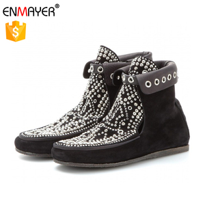 Women's Boots Knight Cool Lady Cow Leather Shoes Bling Bling Women Spring Boots Shoes