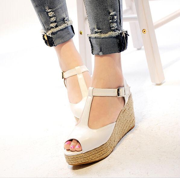 mode de marie blanche talon compens sandales femmes coins dt chaussures de mariage - Chaussure Mariage Compense