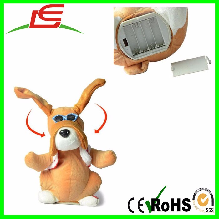 wholesale electric plush glasses dog with moving long ear