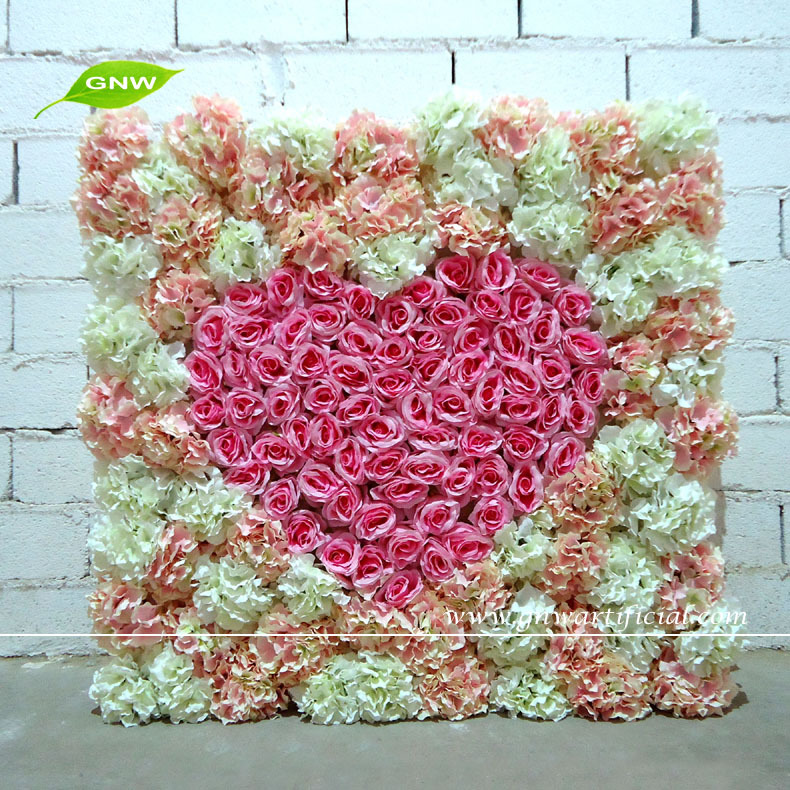Gnw Flw1508004 Middle Heart Shaped Rose Artificial Flower Wall