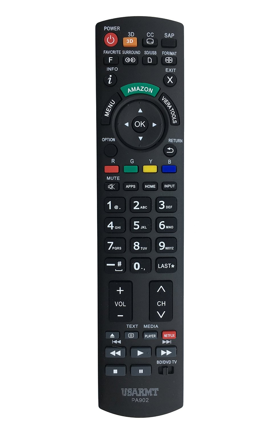 VINABTY NEW Replaced Remote PA902 fits for Panasonic Plasma LCD LED 3D TV DVD Blu-ray Player Remote Such as N2QAYB000100 N2QAYB000221 N2QAYB00048 N2QAYB000321 N2QAKB000089