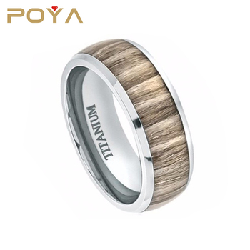 POYA Jewelry 8mm Titanium Wedding Band Ring High Polished Domed with Ashen Zebra Rosewood Inlay