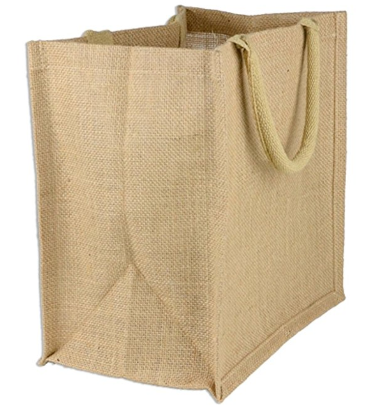 Natural Burlap Tote Bags Reusable Jute Bags with Full Gusset