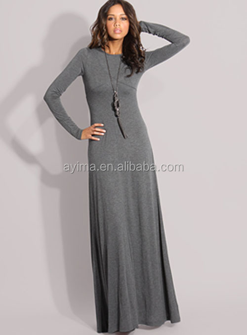 Hot Selling Woman Muslim Long Sleeve Maxi Dress Long Dress ...