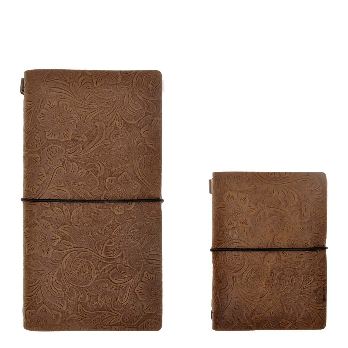 """Refillable Leather Journal Vintage Flower Embossed Travelers Notebook Set, 4.7"""" x 8.6"""" &3.9"""" x 5.2"""", for Men Women Writing Gift, by ZLYC, Coffee"""
