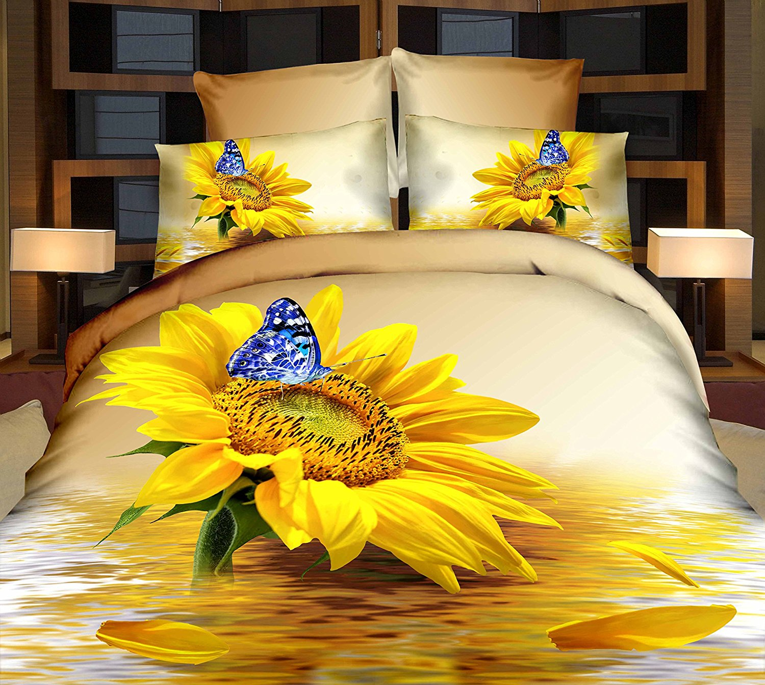 Alicemall Full 3D Bedding Charming Bright Yellow Sunflower and Blue Butterfly Water Reflection Print 4-Piece Duvet Cover Sets, 4 PCS 100% Cotton Bedding Set (Full)