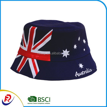 Cotton twill Australia flag sunhat bucket fishing hat custom printed bucket  hats 182b9ce4b72
