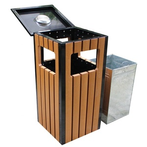 Gavin mild steel and recycled plastic wood outdoor dustbin with ashtray/outdoor ashtray bin
