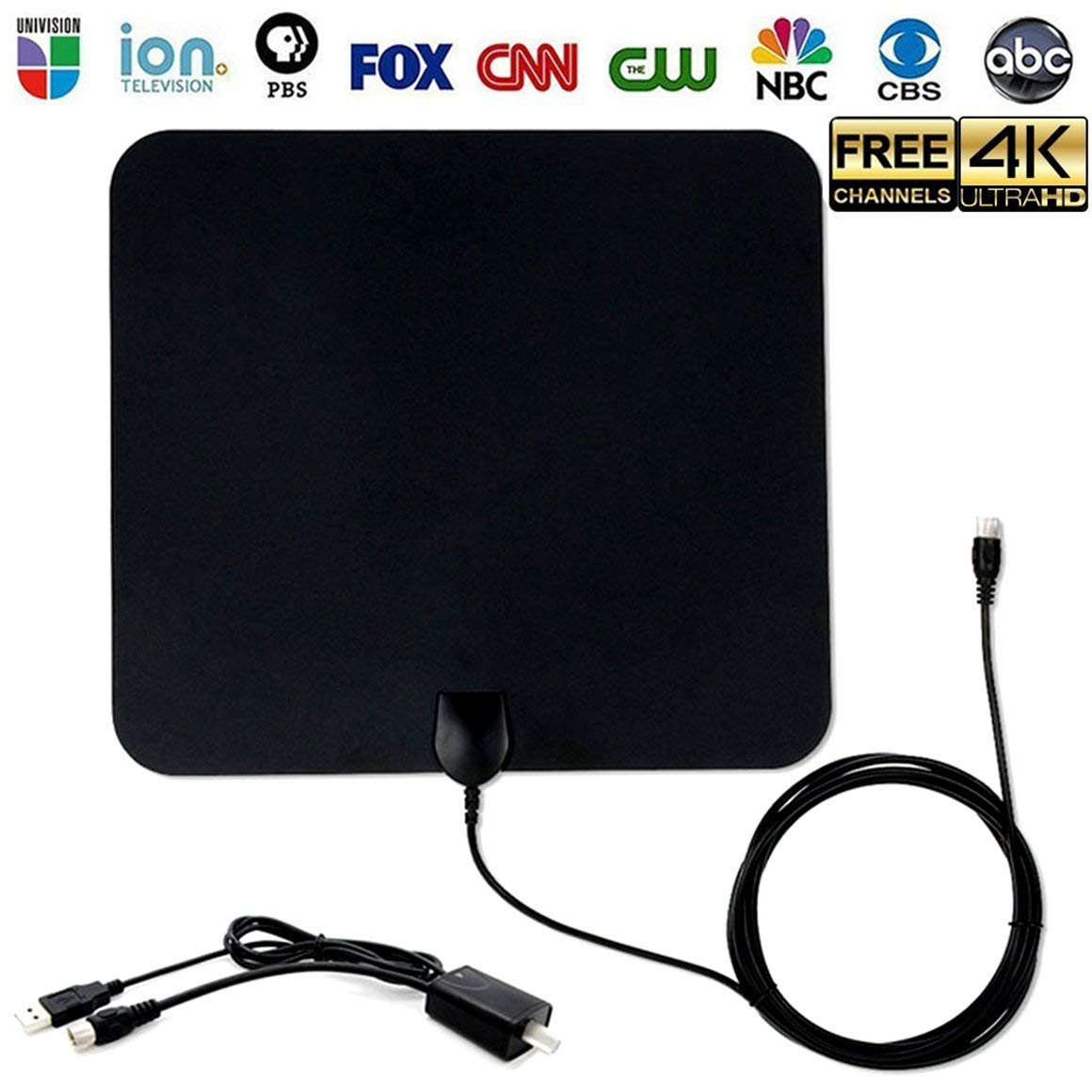 TV Antenna, HDTV Amplified Digital Antenna Super-Thin 50 Miles Range, 1080P/4K with Detachable Amplifier Signal Booster for Free TV Channels,USB Powered 13FT High Performance Coax Cable, Black