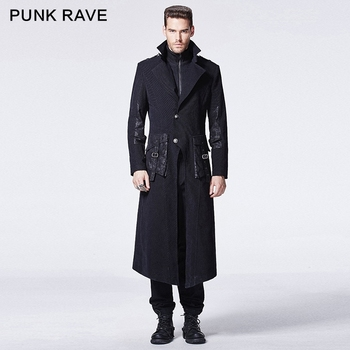 Y 595 Punk Rave Gothic Winter Black Skinny Two Piece Man Long Coat