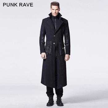 Lange Zwarte Winterjas.Y 595 Punk Rave Gothic Winter Zwarte Skinny Tweedelig Man Lange Jas