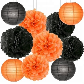Happy Halloween Party Paper Flower Lanterns For Halloween Decoration